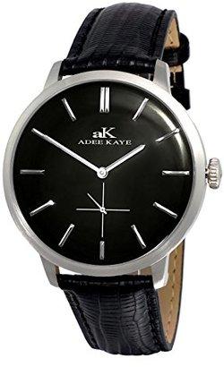 Adee Kaye adeekaye ak2225メンズクラシックデザインステンレススチール& Texturedレザードームwatch-silvertone /ブラックダイヤル