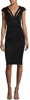ZAC Zac Posen Joni Cap-Sleeve Bodycon Cocktail Dress, Black $375 thestylecure.com