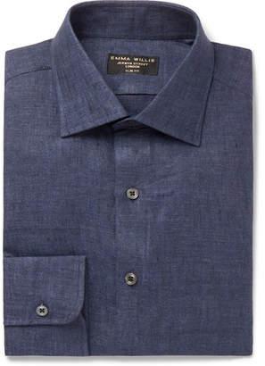 Slim-Fit Melange Linen Shirt