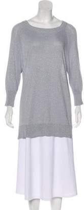 Ellen Tracy Metallic Knit Sweater Blue Metallic Knit Sweater