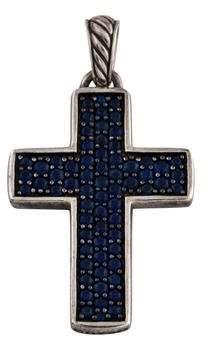 David Yurman Sapphire Chevron Cross Pendant