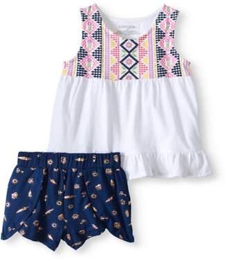 Kidtopia Toddler Girl Ruffle Hem Tank Top & Yummy Short, 2Pc Outfit Set