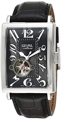 Gevril Avenue of Americas Intravedere Men's Swiss-Automatic Open Heart Rectangle Face Black Leather Strap Watch