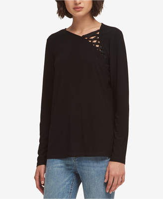 DKNY Lace-Up Top