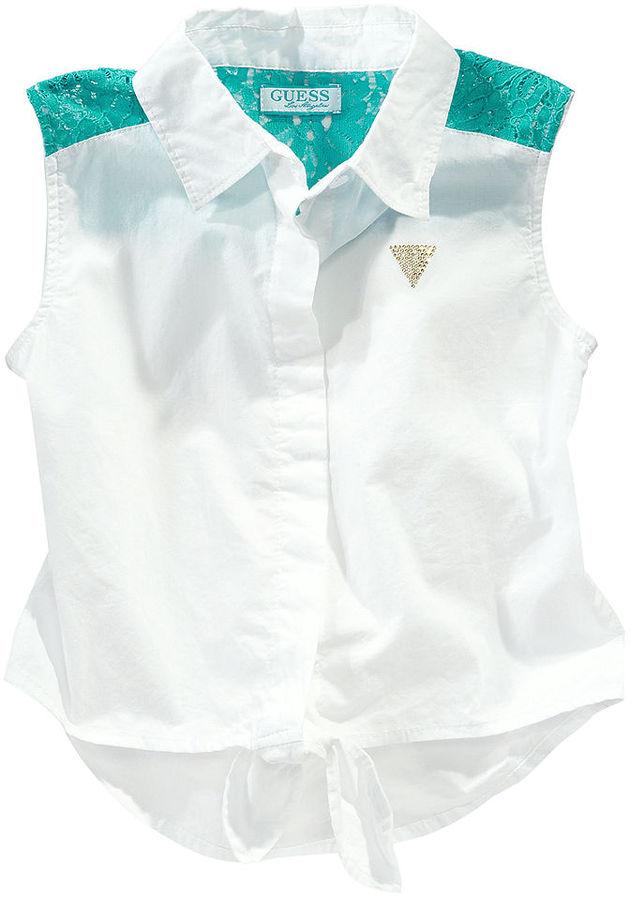 GUESS Shirt, Girls Lace-Shoulder Top