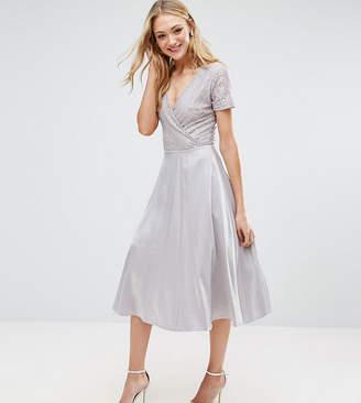 True Decadence Tall Wrap Front Lace Top Midi Prom Dress