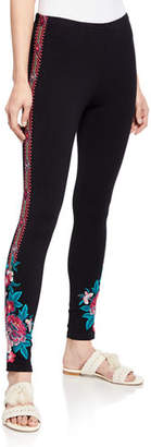 Johnny Was Annaliesse Floral-Embroidered Leggings, Plus Size