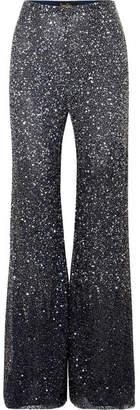 Jenny Packham Estella Embellished Tulle Straight-leg Pants
