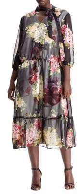 Lauren Ralph Lauren Plus Floral Chiffon Tie-Neck Dress