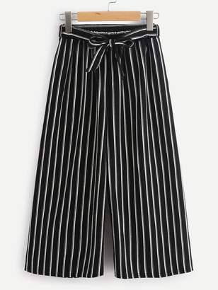 Shein Vertical Stripe Self Tie Wide Leg Pants