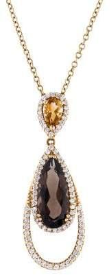 Co Gabriel & 14K Smoky Quartz, Citrine & Diamond Pendant Necklace