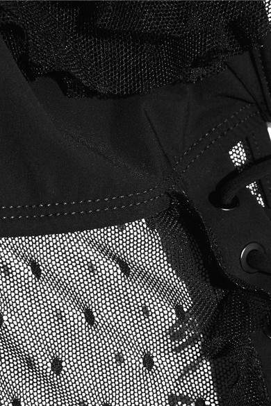 Zimmermann Corsair Lace-up Ruffled Point D'esprit-paneled Swimsuit - Black