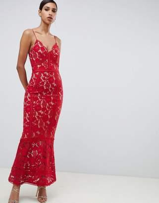 Jarlo cami strap allover lace maxi dress in red