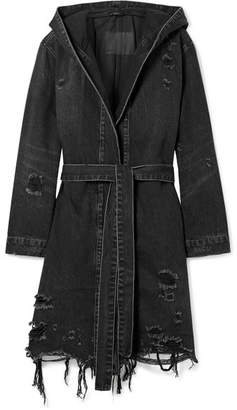 Alexander Wang Hooded Distressed Denim Jacket - Dark gray