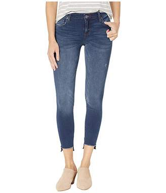 KUT from the Kloth Connie Ankle Skinny Jeans w/ Fray Hem in Thanks w/ Dark Stone Base Wash
