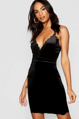 boohoo Tall Velvet Scallop Hem Mini Dress