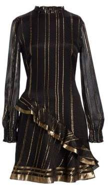 Derek Lam 10 Crosby Women's Metallic Ruffle Long-Sleeve A-Line Dress - Black - Size 4