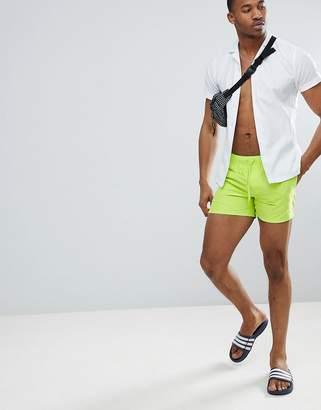 Asos DESIGN Swim Shorts In Bright Green In Short Length
