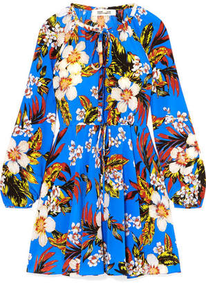 Diane von Furstenberg Floral-print Silk-jersey Mini Dress - Blue