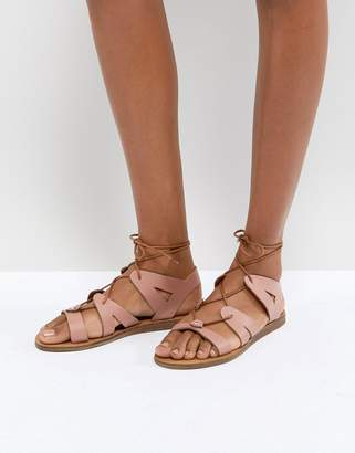 Office Saffy Leather Gladiator Lace Up Sandals