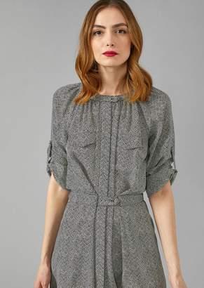 Giorgio Armani Silk Shirt Dress With Chevron Pattern