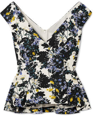 Erdem Jio Floral-print Cotton-blend Faille Peplum Top - Blue