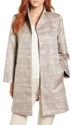 Eileen Fisher Funnel Neck Jacquard Jacket