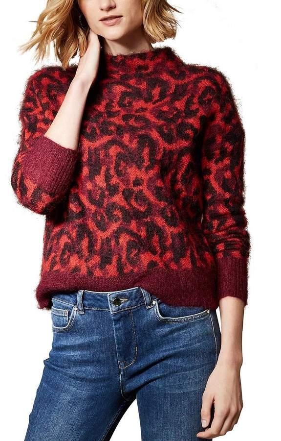 Brushed Leopard Print Jumper-Red/Multi