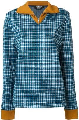 Calvin Klein zip up tartan jumper