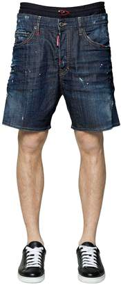 DSQUARED2 Cotton Denim Shorts W/ Elastic Waistband