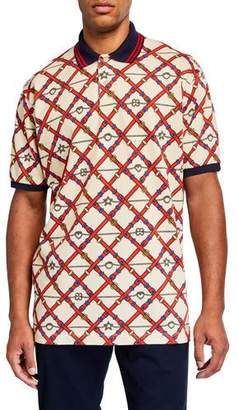 Gucci Men's Allover Pattern Pique Polo Shirt