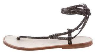 Barneys New York Barney's New York Leather Thong Lace-Up Sandals