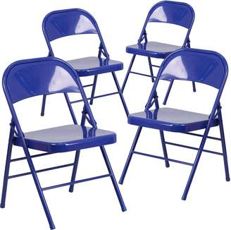 Flash Furniture Hercules Color Burst Series Cobalt Triple Braced and Double Hinged Metal Folding Chair, 4-Pack
