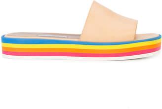 Tabitha Simmons rainbow striped platform sandals
