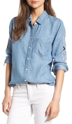 Women's Rails Phoenix Embroidered Chambray Shirt $188 thestylecure.com