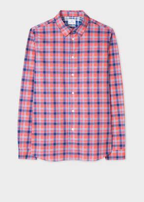 Paul Smith Men's Slim-Fit Coral And Indigo Check Cotton Shirt