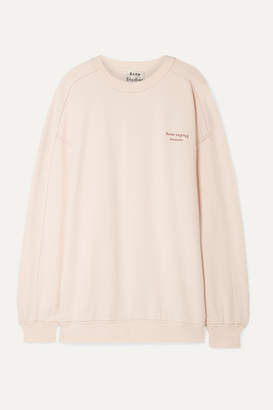 Acne Studios Wora Oversized Embroidered Cotton-terry Sweatshirt - Pastel pink