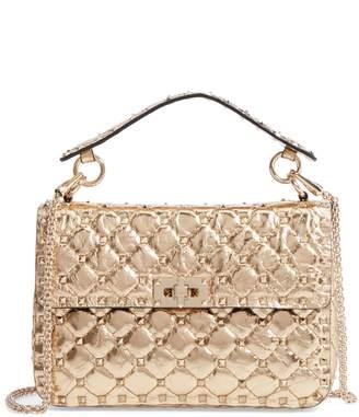 Valentino Matelasse Rockstud Spike Leather Top Handle Bag