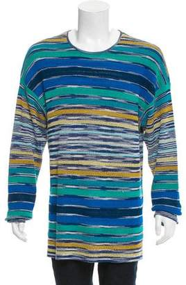 Missoni Striped Long-Line Scoop-Neck Sweater