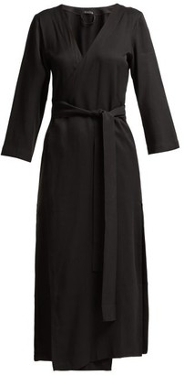 Haight Heart V Neck Wrap Crepe Midi Dress - Womens - Black