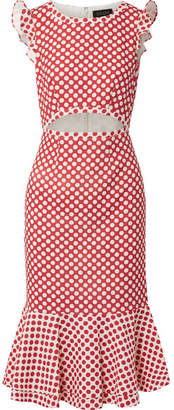 Saloni Gail Cutout Polka-dot Cady Midi Dress - Red