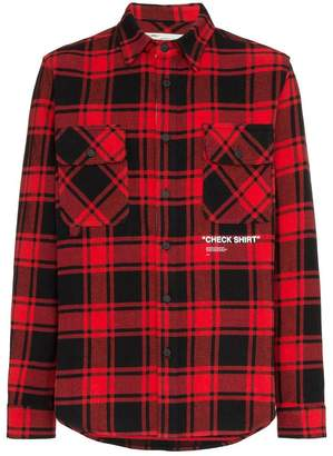 Off-White red Quote checked shirt