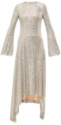 Galvan Modern Love Sequinned Handkerchief Hem Dress - Womens - Silver