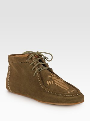 Joie Eye of the Tiger Suede Lace-Up Moccasins