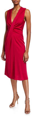 Diane von Furstenberg Katrita Draped Sleeveless Midi Cocktail Dress