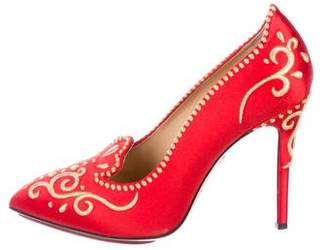 Charlotte Olympia Embroidered Satin Pumps