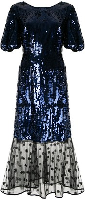 Markus Lupfer sequin mesh panel dress