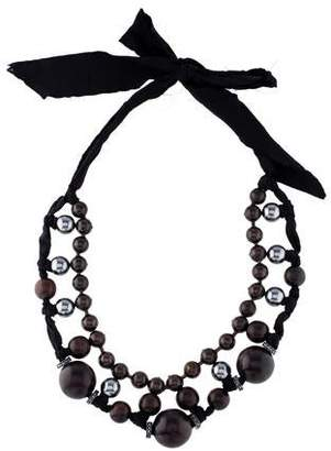 Lanvin Crystal, Faux Pearl & Bead Necklace