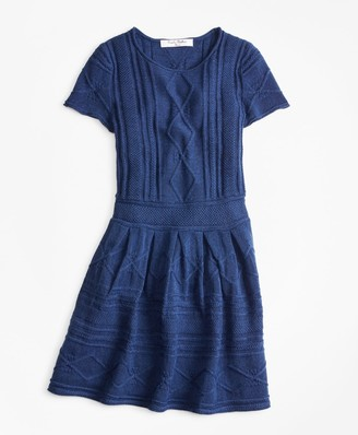 Brooks Brothers Girls Merino Wool-Blend Cable Knit Sweater Dress