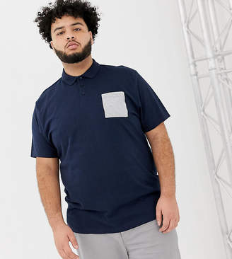 Asos Design DESIGN Plus relaxed polo shirt with contrast pocket in navy